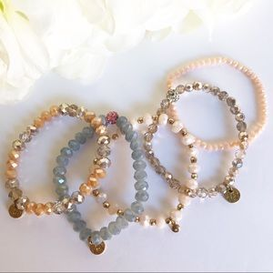5 BEB Glass Beads / Iridescent Stretchy Bracelets